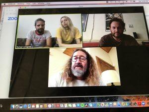 Zoom Production meeting with Michael and Amanda, Michael Valinsky, & DP Dan Kneece