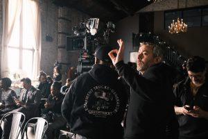 Jonathan Furmanski Oks a shot on set of Search Party